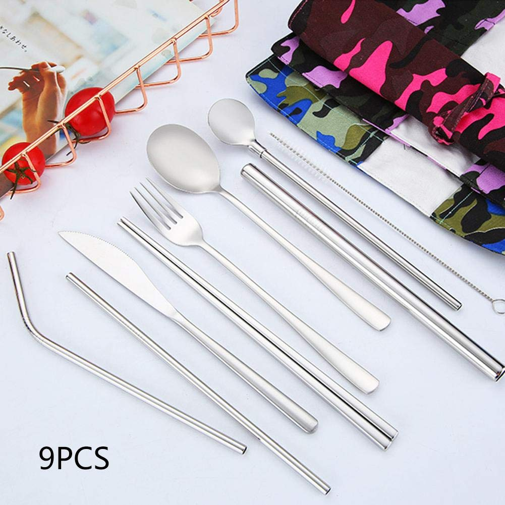 9PCS 304 stainless steel Silverware Flatware Cutlery Set Include fork, spoon, knife, dessert spoon, ladle, chopsticks, curved straw, straight straw and straw cleaning brush For home picnic Outdoor tra by Cherry-Lee