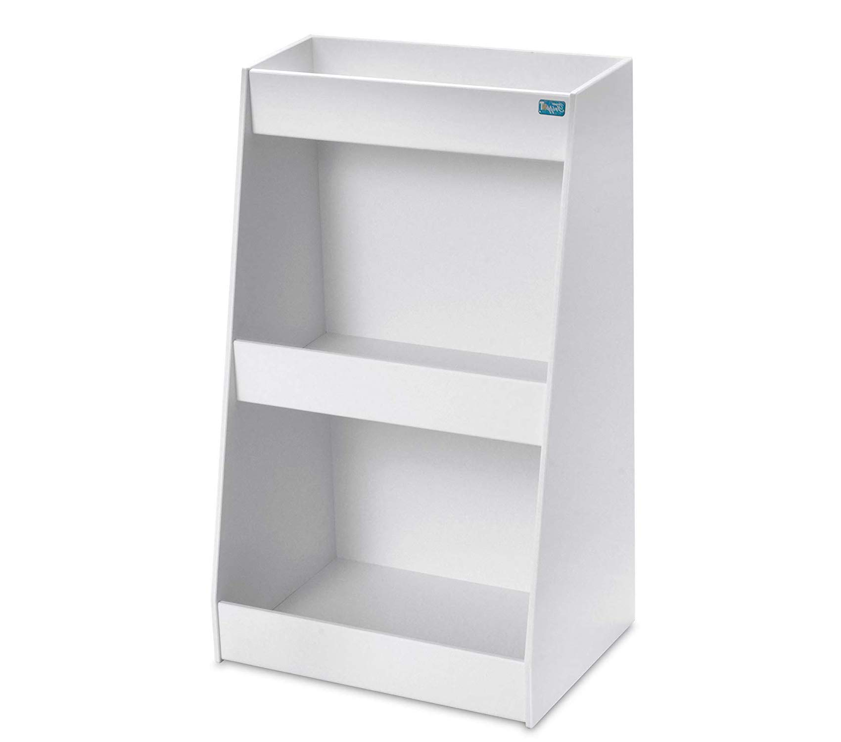 Premium PVC Angled Triple Safety Shelves with No Door 12'' Width x 20'' Height x 9'' Depth White Storage