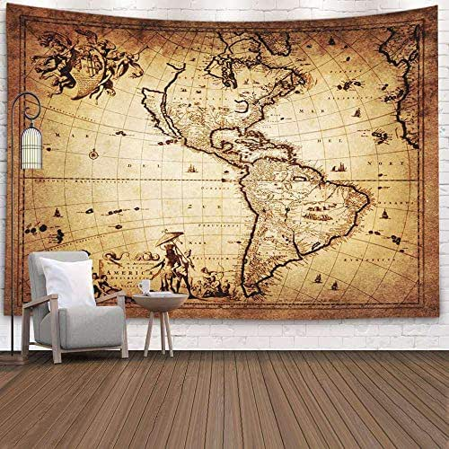 Douecish Tapestry Wall Hanging, Decoration Map America for Bedroom Living Room Decor Wall Hanging Tapestry 80X60 Inches,Pink Green
