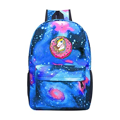 dbb95d9f6ca38 Amazon.com: DDfngb Unicorn Donut Galaxy Backpack Daypack BookBags ...