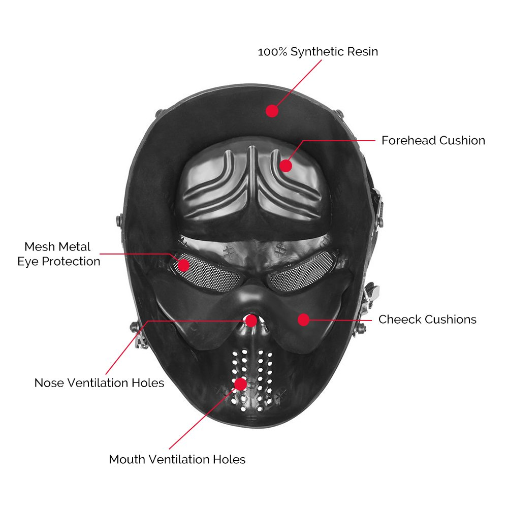 Amazon.com : OutdoorMaster Airsoft Mask - Full Face Mask with Mesh ...