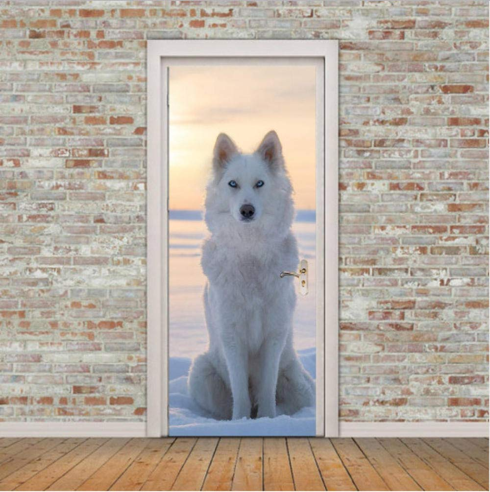 JIAOYK 3D Stickers Porte Loup Blanc Autocollant 3D en Vinyle D/écoration pour Porte ou Mur de Salon de Chambre Enfants lmperm/éable Wall Sticker Mural 77x200 cm
