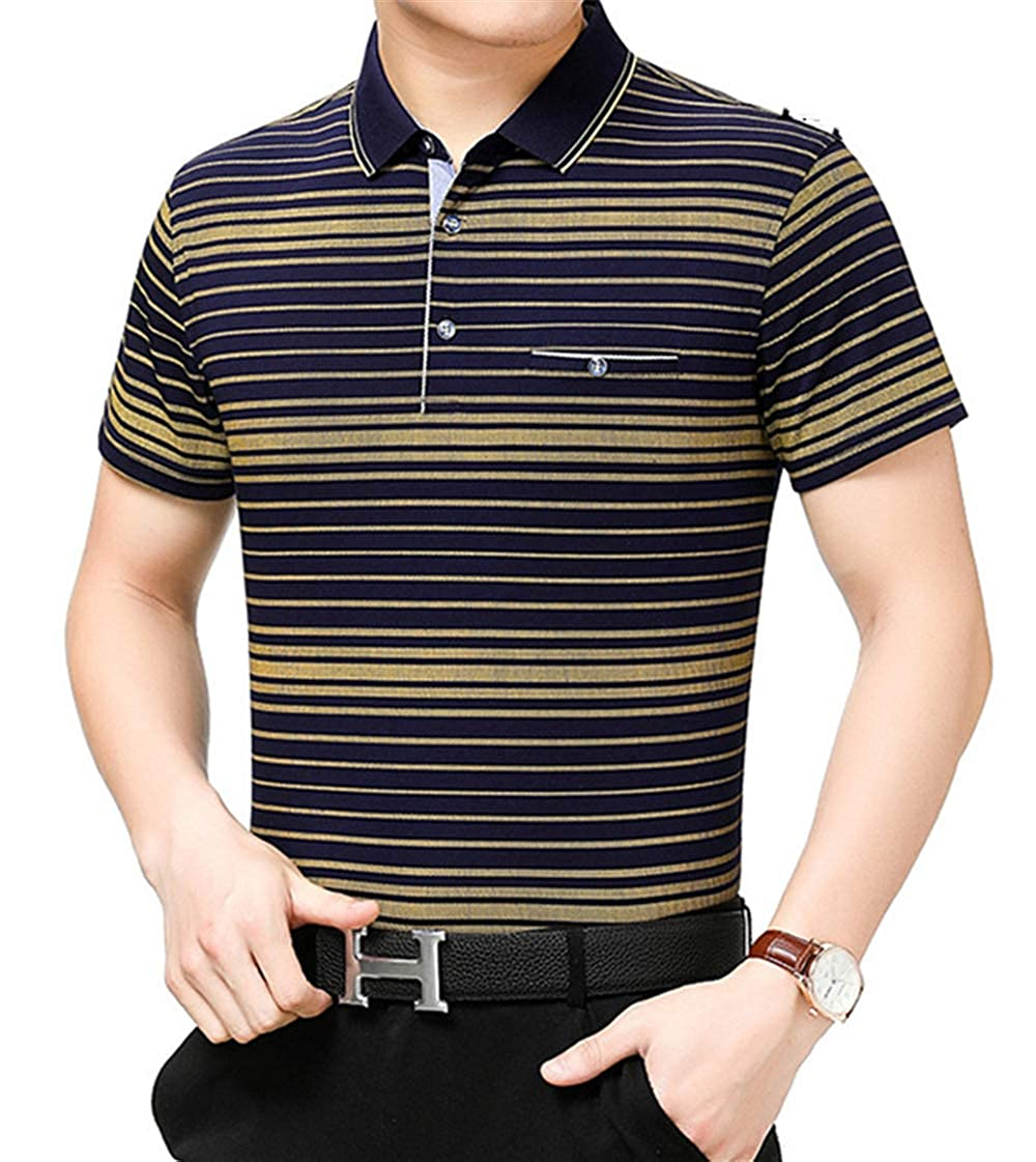 LUOBM Polo Shirt Mens Regular Edition Fashion Cotton Breathable Fathers Day