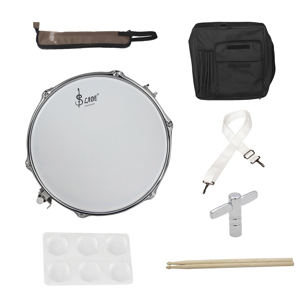 Muslady 14 Snare Drum Kit Stainless Steel Drum Body PVC Drum Head with Drum Bag Strap Drumsticks Drumstick Bag Drum Damper Gel Pads