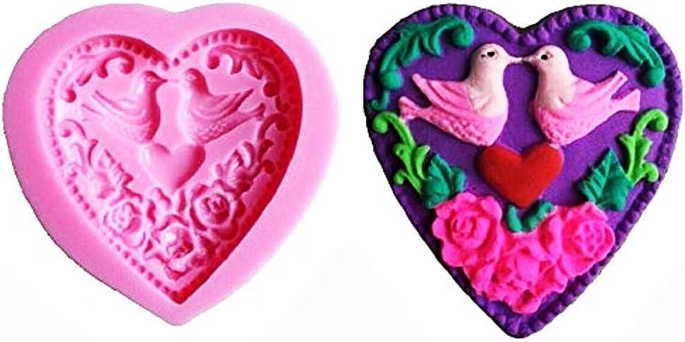Moule pour Usage Artisanal Moule en Silicone Coeur id/ée Cadeau de No/ël et danniversaire colombes moules en Silicone