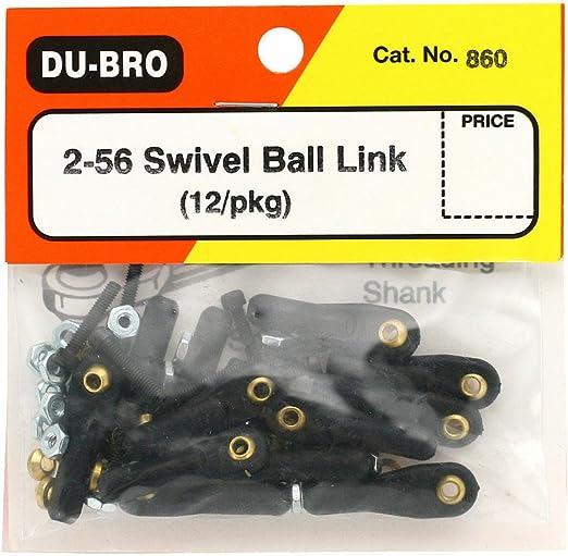 12PKG DUBRO DUBRO860 2-56 SWIVEL BALL LINKS