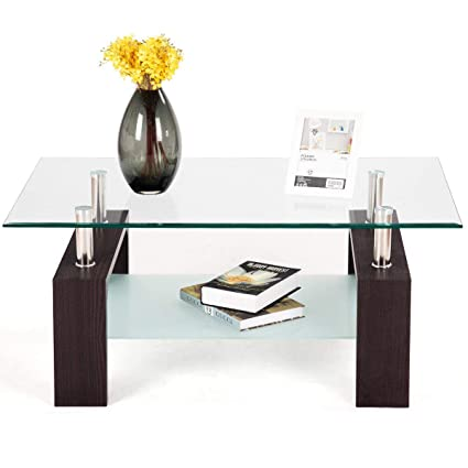 Amazon Com Tangkula Glass Coffee Table Modern Simple Style
