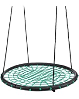 """40"""" 100cm Tree Swing Spider Web Swing Outdoor Tire Swing – Green, Free Two Tree Straps, Extra Safe and Durable, Easy Install for Swing Set or Tree"""