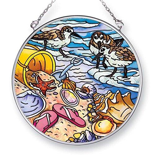 Amia Beach Treasures, Hand-Painted Glass Circle Suncatcher, 4-1/2 Inches, 42439