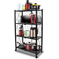 4-Tire Kitchen Microwave Racks Shelving Storage Unit Foldable Bread Racks, Storage Racks, Trolleys, Metal Organizer Wire Rack for Home Kitchen (Black-1, 4 Layer)