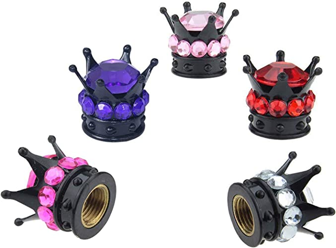 WUSUANED Bling-Bling Colorful Crown Tire Valve Stem Caps Set of 5 PCS Rhinestone Tire Caps for Car Motorcycle Truck