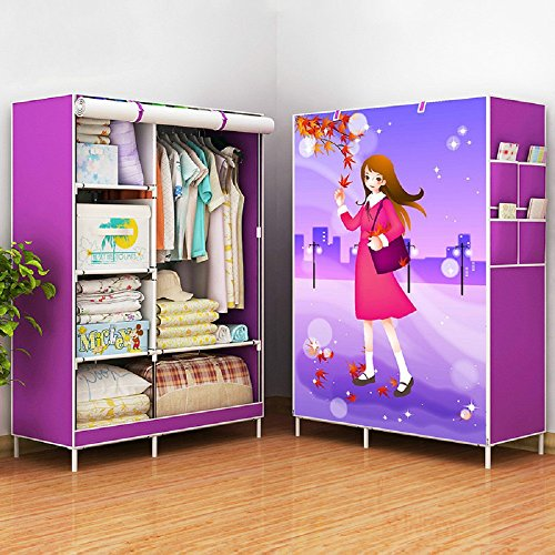 Messy Single Rod (G.S.L Wardrobe Simple Non-woven Cloth Folding Assembly Wardrobe Fabric Steel Frame Double Simple Modern Economy Storage Clothing Closet Shelves (Single rod, Purple with girl))