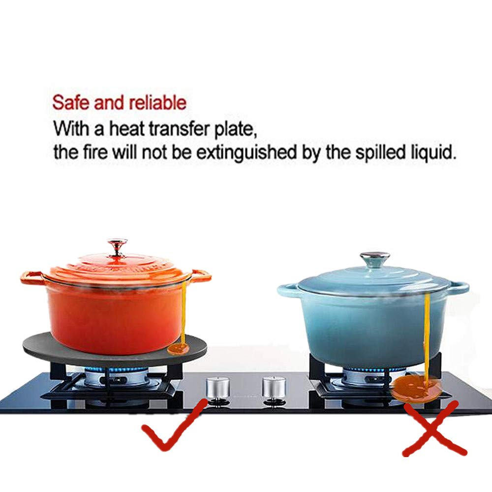 [2 in 1] Rapid Thawing plate & Energy Saver, Flame Protector for Defrosting Frozen Meat Food Quickly, Energy-Saving and Heat-Resistant Pot Anti-burn black (Teflon Coating&5mm thick)