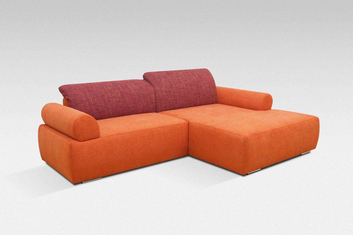 Dreams4Home Polstergarnitur, Ecksofa, 'Living', inkl. Rückenfunktion,orange, bordeaux, Webware, Polstermöbel, Couch, Aufbauvariante:Recamiere rechts davorstehend