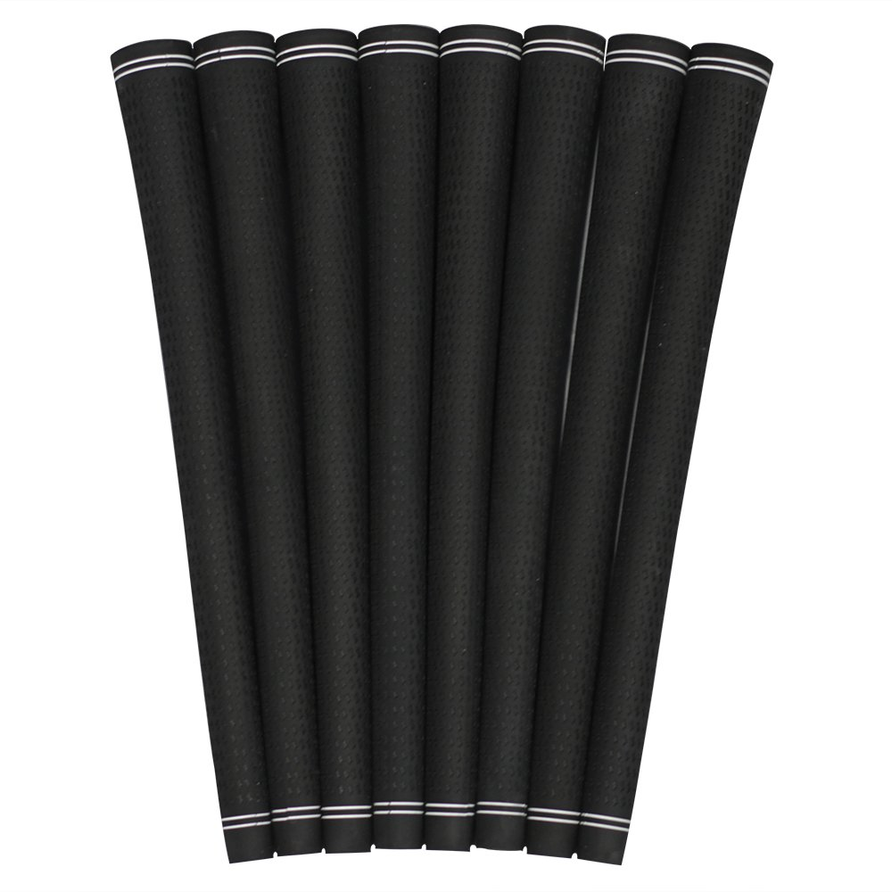 8 Piece Men's 360 Revolution All Black Pro Velvet Standard Size Golf Grips Set