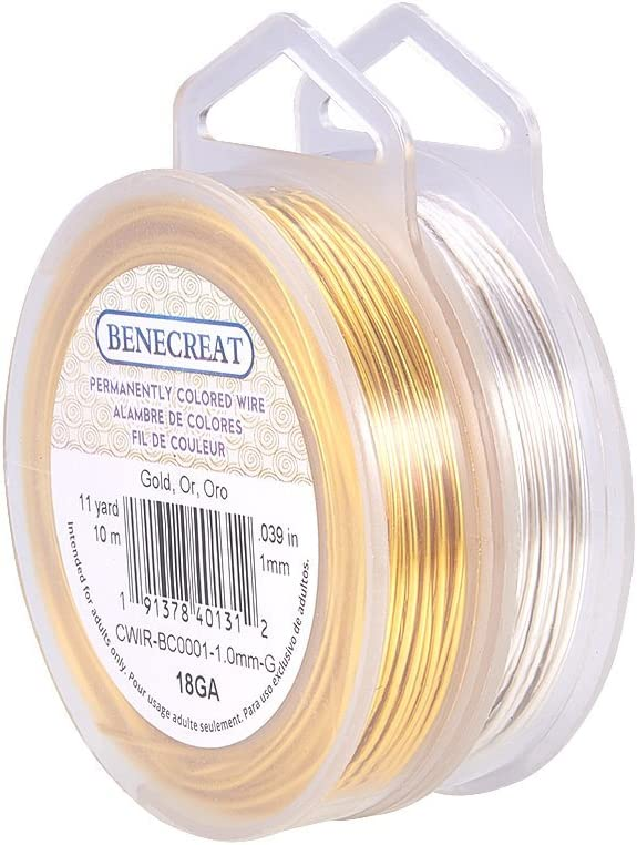 132-Feet//44-Yard in Total BENECREAT 4 Rolls 20-Gauge Tarnish Resistant Silver//Gold//Copper//Antique Bronze Coil Wire
