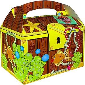 German Trendseller® - 12 x cajitas de cumpleaños ┃cofre del tesoro┃con aso para llenar ┃para regalo ┃fiestas infantiles┃ idea de regalo┃cumpleaños de ...