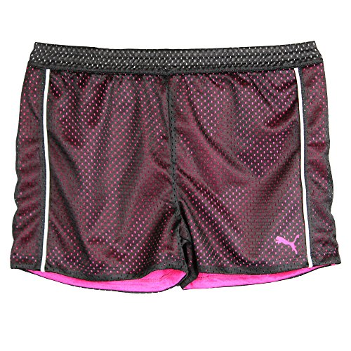 Puma Big-Girls Mesh Athletic Exercise Gym Shorts Hot Pink Black White Large
