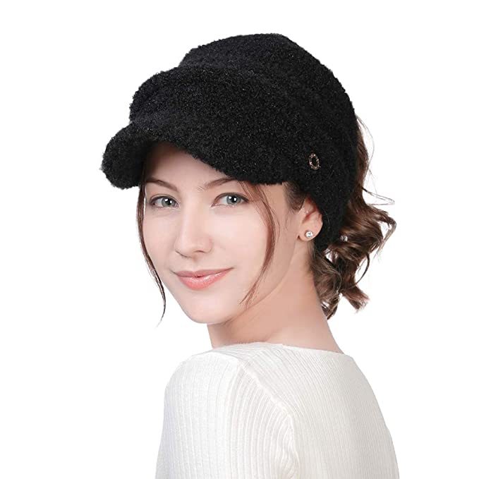 3ff007db3a1 FancetAccessory Womens Wool Beanie Visor Crochet Knit Slouch Skull Cap  Ponytail Long Hair Cold Weather Winter Hat Ladies Fashion Fleece at Amazon  Women s ...