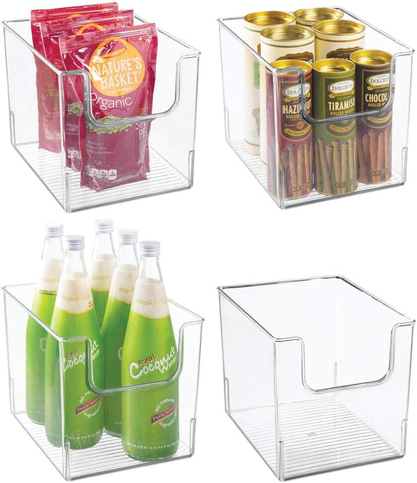 mDesign Set of 4 Storage Trays – Open Top Kitchen Tray for Food Storage Made of Plastic – Ideal in The Kitchen Cupboards or as Fridge Boxes – Clear