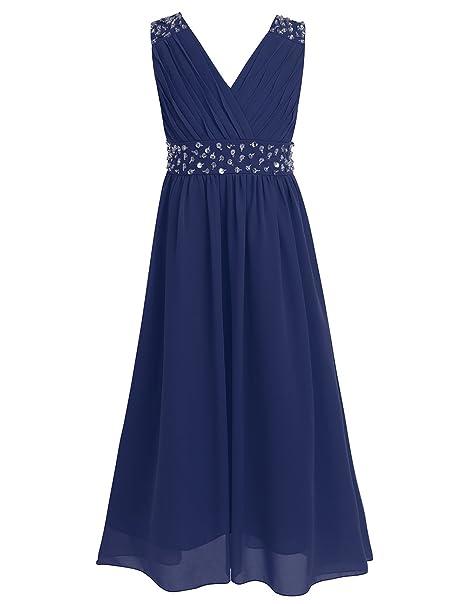 iEFiEL Vestido de Princesa Boda Fiesta Ceremonia Brillante para Niña Vestido Plisado (4-14