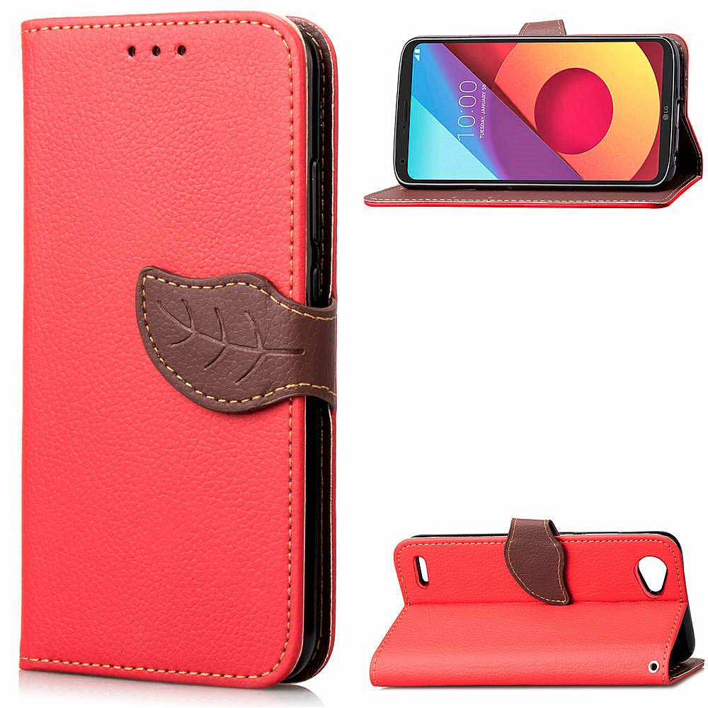 Phone Cases Cover, Nature Leaf Magnetic Closure Style PU Leather Wallet [Stand Feature] Flip Folio Protective Skin Case Cover LG Q6 / LG Q6 Plus/LG G6 Mini (Color : Red) JINXIUS Store