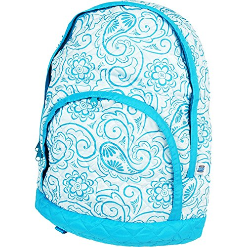 Quilted Backpack - Aqua Paisley - by Threadart