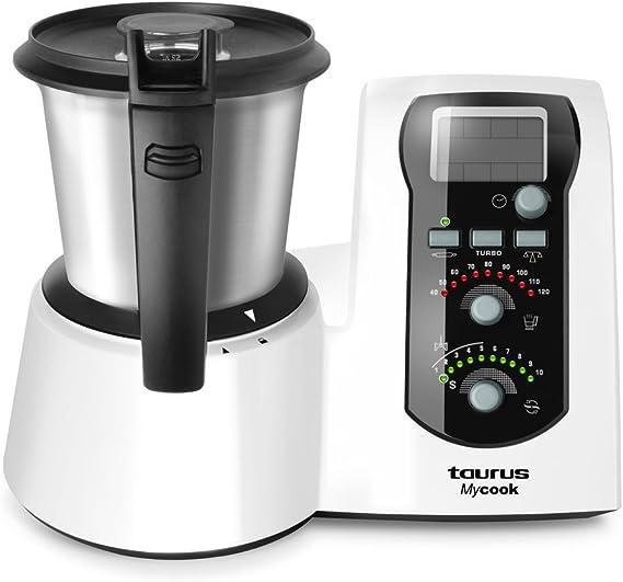 Taurus Mycook Easy Robot de Cocina Inteligente Multifunción, 1600 W, 2 litros, Plástico, 10 Velocidades, Acero Inoxidable, in Vaporera, Negro//Blanco: Amazon.es: Hogar
