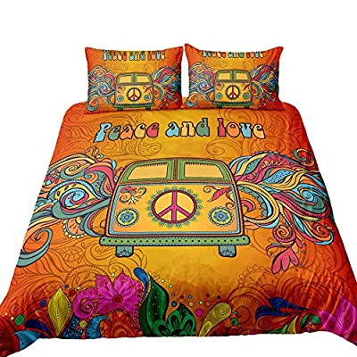 Suncloris,Hippie Psychedelic Camper Van Peace Sign,Bedding Boys Girls Watercolor Colorful Art Duvet Cover Set,Included:1 Duvet Cover,2 Pillowcase(no Comforter Inside) (Queen): Home & Kitchen