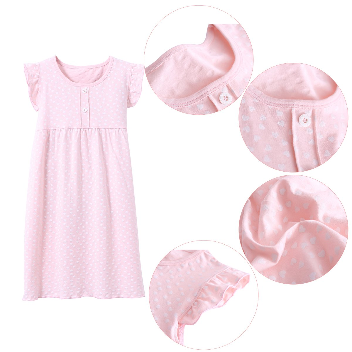DGAGA Little Girls Princess Nightgown Cotton Lace Bowknot Sleepwear Nightdress (7-8 Years/140cm, Pink) by DGAGA (Image #2)