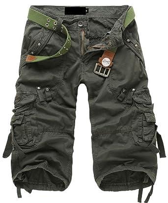 Sawadikaa Men's Casual Cotton Twill Cargo Shorts Pant Lightweight Outdoor  Wear Pants Army Green 28