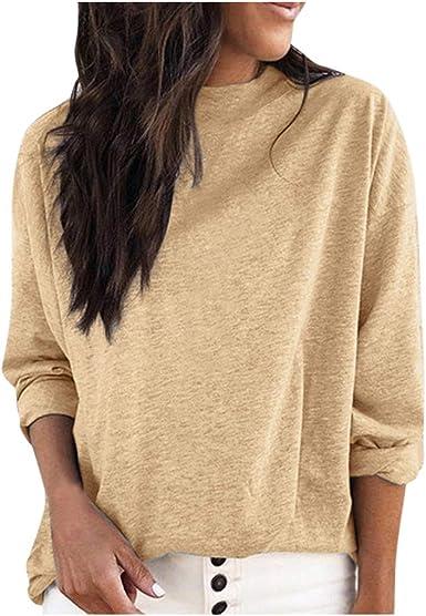 Sylar Camisetas Mujer Manga Larga Talla Grande Camisetas Blusa Cuello Alto Elegantes Camisas Cuello Redondo sólido Casual Tops Pullover Mujer para Primavera y otoño: Amazon.es: Ropa y accesorios