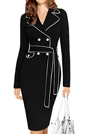 38fbaf1d86db Women Elegant Long Sleeve Double Breasted Pencil Bodycon Business Suit Dress  With Belt Plus Size Black