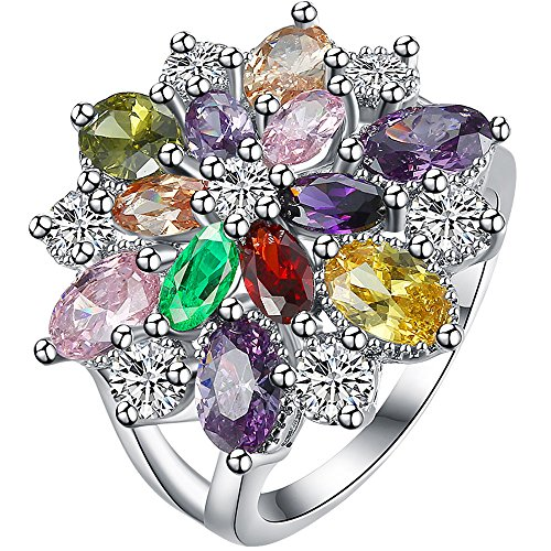 LWLH Womens 18K White Gold Plated Multi Colored Cubic Zirconia CZ Flower Crystal Promise Wedding Ring Szie 7