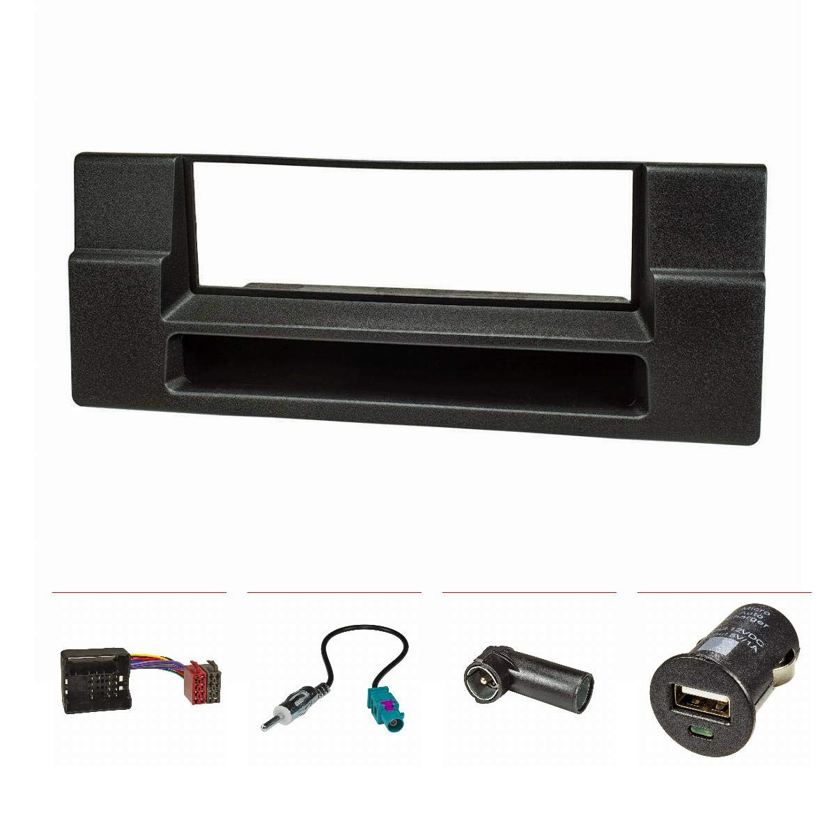 Fakra Antennenadapter DIN ISO tomzz Audio 2404-021 Radioblende Set f/ür BMW 5er E39 X5 E53 mit Ablagefach Quadlockadapter ISO