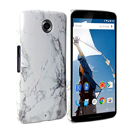 huge discount dd185 5f52f Nexus 6 Case, GMYLE Snap Cover Glossy for Nexus 6 / Nexus X (XT1100) -  White Marble Pattern Slim Fit Snap On Protective Hard Shell Back Case
