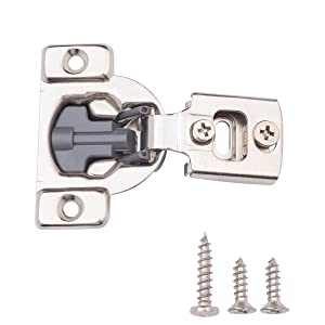 "AmazonBasics Soft Close Hinge, 1/2"" Overlay, Nickel Plated, 10-Pack"