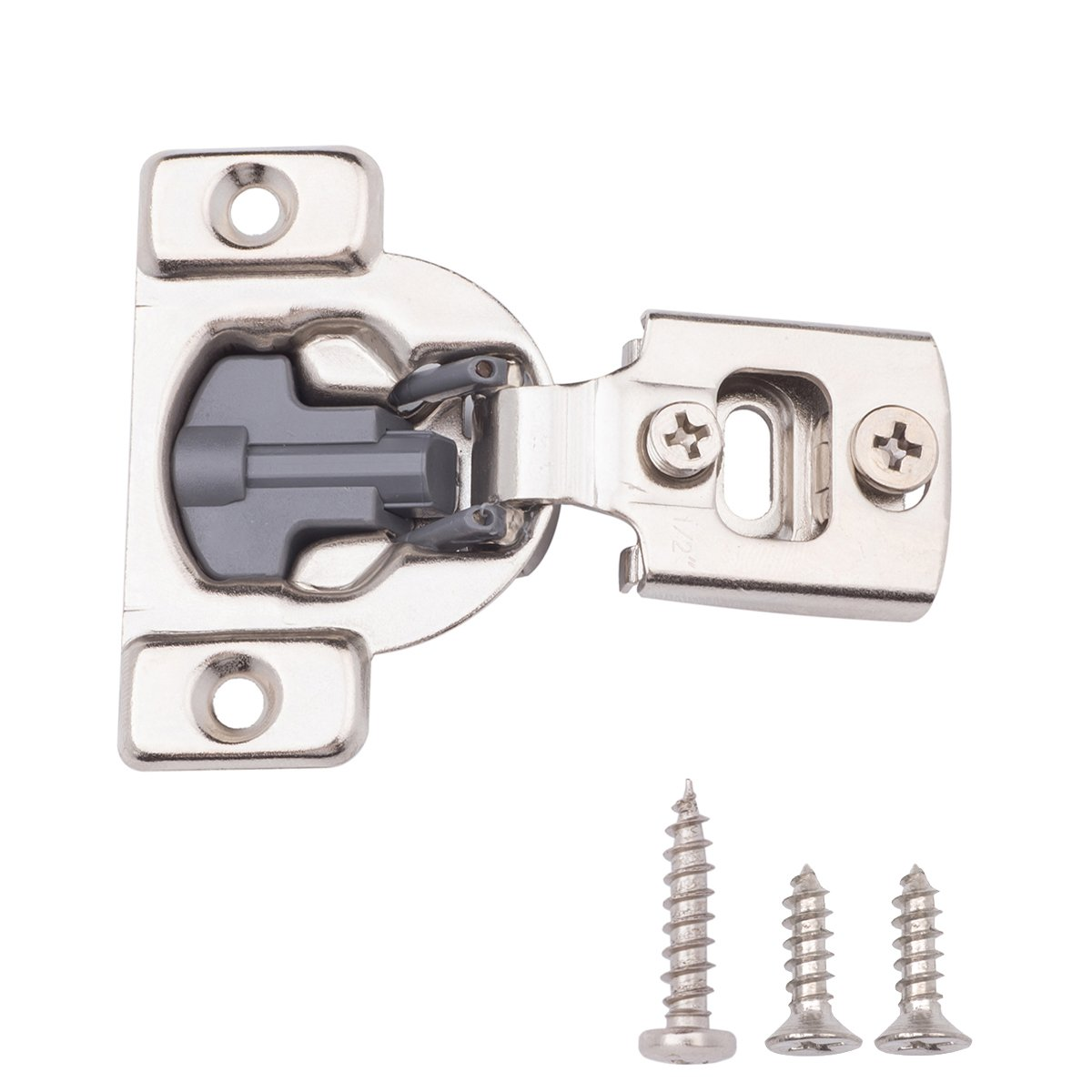 AmazonBasics Soft Close Hinge, 1/2 Inch Overlay, Nickel Plated, 50-Pack