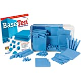 hand2mind 5556 Blue Plastic Base Ten Blocks For Kids Ages 8-11, Base 10 Units, Rods, Flats, Cube, And Activity Book…