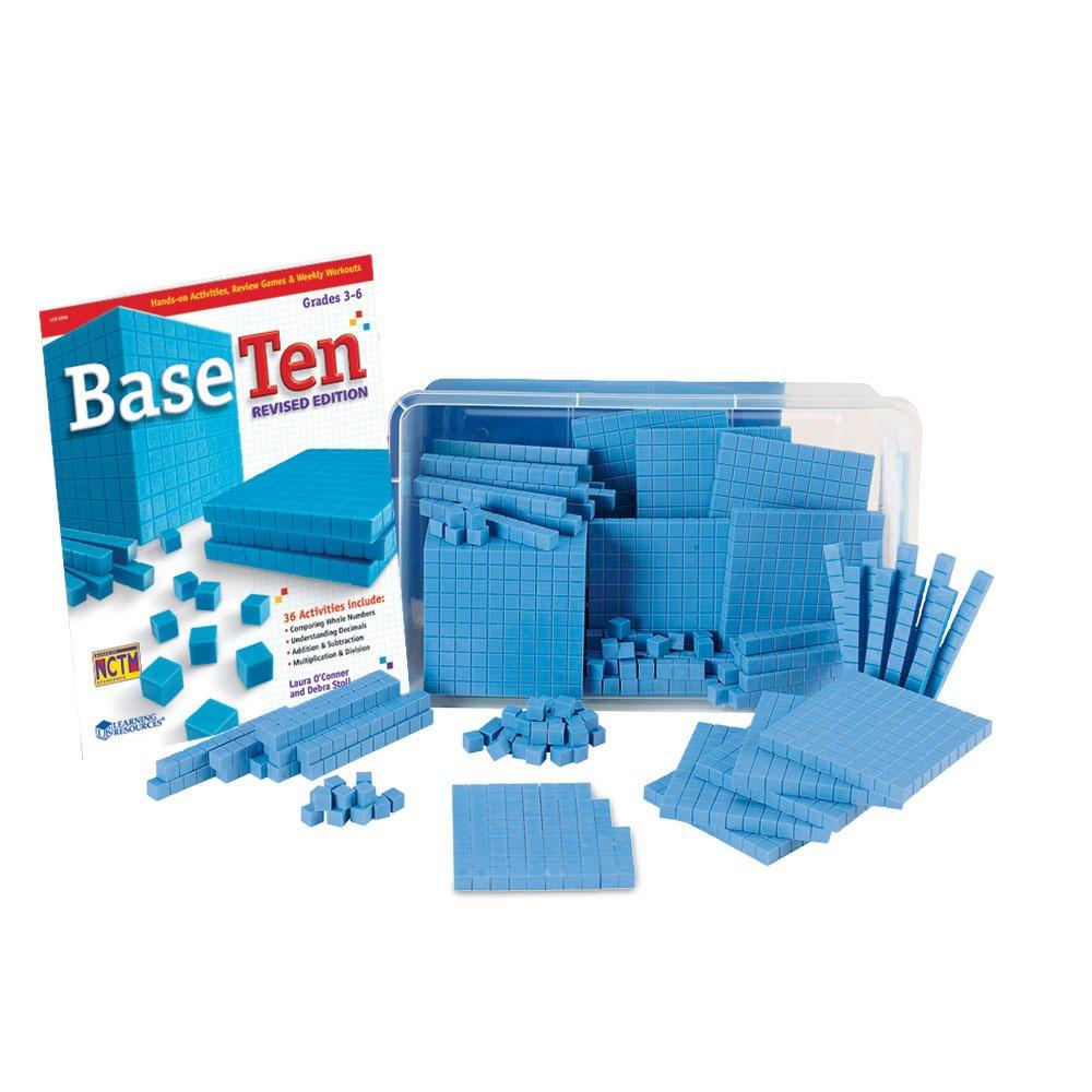 hand2mind Blue Plastic Base Ten Blocks, 161-Piece Starter Set by hand2mind