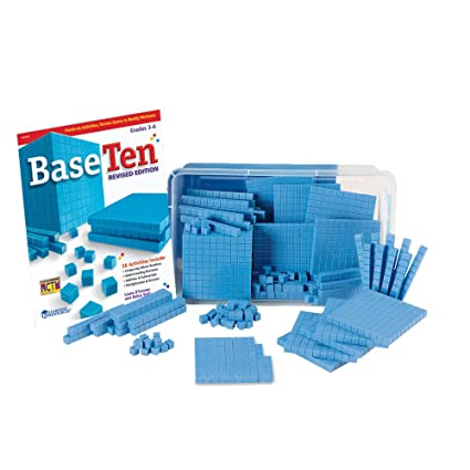 hand2mind Blue Plastic Base Ten Blocks, The Starter Kit for Elementary Math Manipulatives, (Ages 8-11), Master the fundamentals of Place Value & Regrouping (Set of 161)
