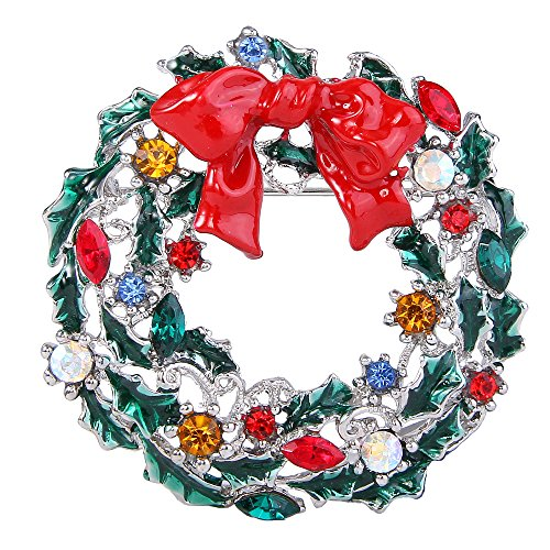 Wreath Brooch (EVER FAITH Green Flower Mistletoe Wreath Red Bowknot Brooch Colorful Crystal Silver-Tone)