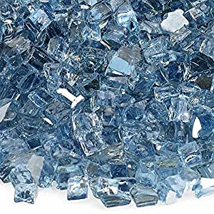 American Fireglass 10-Pound Reflective Fire Glass with Fireplace Glass and Fire Pit Glass, 1/4-Inch, Pacific Blue