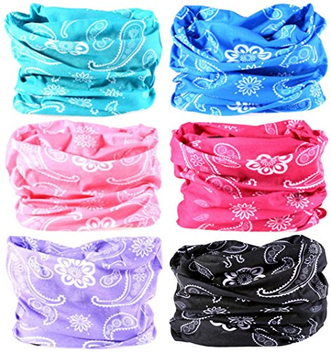 Headwear Wide Headbands Scarf Head Wrap Mask Neck Warmer by VANCROWN (6PC.Paisley Series.1)