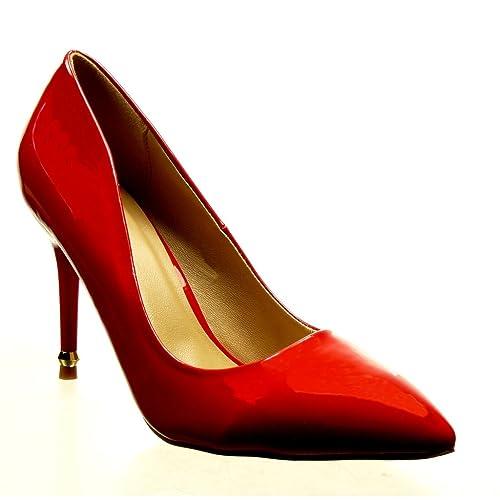 4a25ec953dd6c Angkorly - Chaussure Mode Escarpin Stiletto Sexy Femme doré Verni Talon  Haut Aiguille 9.5 CM -