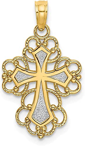 Jewels By Lux 14k White Gold Beaded Cross Pendant