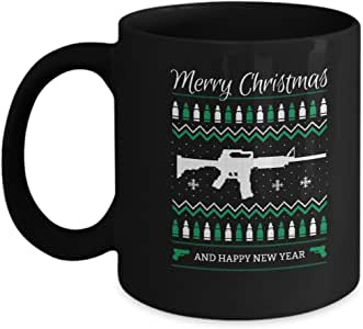Guns Green Merry Christmas and Happy New Year Coffee Mugs for Christmas Gifts - Black Coffee Tea Mugs - 11 OZ Black Coffee Mugs and Tea Cups Gift IDE