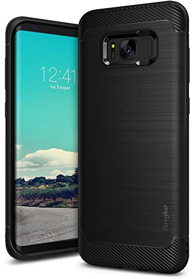 separation shoes 9094b 02db7 Ringke Onyx Compatible with Galaxy S8 Plus Case [Updated Version] Brushed  Metal Design [Flexible & Slim] Dynamic Stroked Pattern Trim Fingerprint ...