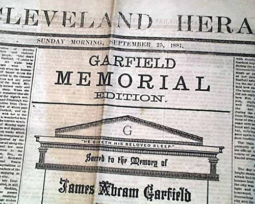 Amazon Com Best James A Garfield Assassination Death 1881 Old Cleveland Ohio Newspaper The Cleveland Herald Ohio Sept 25 1881 Entertainment Collectibles