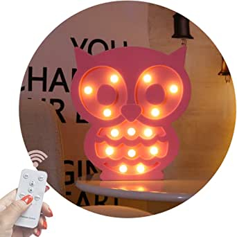 Obrecis Light Up Owl Marquee Sign, Marquee Owl Night Lights with Remote Timer Dimmable for Children Kids Gift Bedroom Table Wall Decor Baby Nursery Lamp (RC Pink Owl)